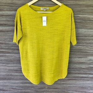 NWT loft mustard yellow knit top -G12